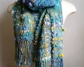 Mermaid Handwoven Artyarn scarf by Star Fiber Studio
