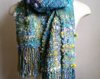Mermaid Handwoven Artyarn scarf by Star Fiber Studio
