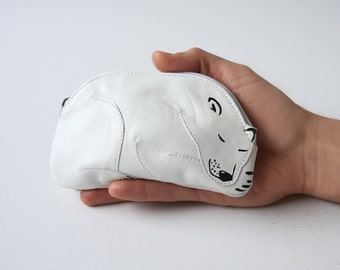 Polar Bear Pouch Sleeping Baby Bear Leather Pouch