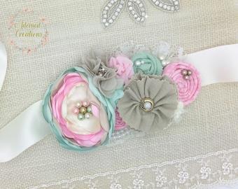Mint and Pink Shabby Chic Maternity sash, Bridal Sash