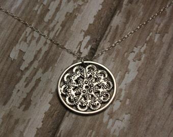 CLEARANCE SALE- Vintage Charm Necklace- Vintage Mandala Necklace- Upcycled Charm Necklace- Sterling Silver Necklace- Mandala Charm Necklace