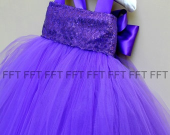 Royal Purple Sequin Flower Girl Tutu Dress