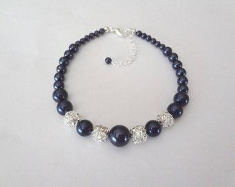 Pearl bracelet - Graduating ~ Swarovski pearl bracelet ~ Navy blue pearl bracelet - Brides bracelet - Classic, Wedding Jewelry ~ Gift