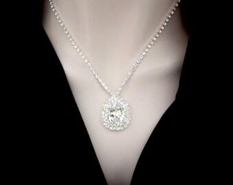 Swarovski crystal necklace - Brides necklace - Clear sparkling crystals - Stunning - Wedding necklace ~ Statement necklace -SOPHIA