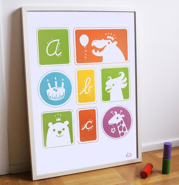 Childrens colourful illustrated ABC poster, 50x70 cm.