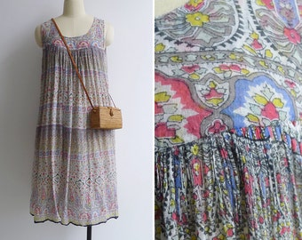 Vintage Indian Cotton Gauze Tent Smock Dress XS S M L