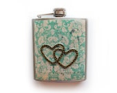 Two Hearts Flask 6 oz Stainless Steel Mixed Media Shabby Chic Art Liquor Hip Flask