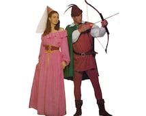 Butterick 5749 Robin Hood and Maid Marian Costume Sewing Pattern Vintage 1990s Couples Costume Tops Tunic Cape Leggings Skirt Hats Size XS-M
