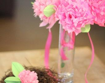Tissue Paper Flower Bouquet & Boutonniere in Pinks