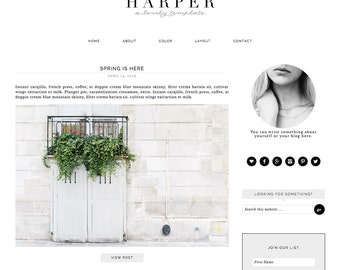 "Wordpress Theme, Responsive Blog Theme Design ""Harper"" - Genesis Website Theme"