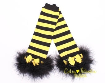 READY TO SHIP: Leg Warmers - Black and Yellow - Bumble Bee - Bee Halloween Costume Accessory - One Size - Cutie Patootie Designz