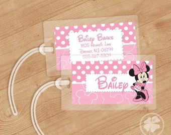 Minnie Mouse - Luggage Tag, Bag Tag, Backpack Tag, ID Tags, Personalized, Custom