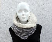 Black and ecru Infinity scarf,cowl,Chunky scarf, knit fabric and faux lamb fur. Gift for her, womens. Unisex.