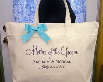 Personalized Canvas Tote Bag for Mother of the Groom