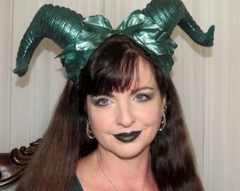 ENVY GREEN DEMON Green Leafy Devil Horns Headdress Hair Adornment ooak
