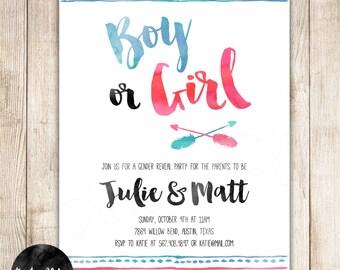 Gender Reveal Invitation, Boy or Girl, Blue or Pink Gender Reveal Invitation, Arrows, Tribal, Aztec, Boho Water Color DIY