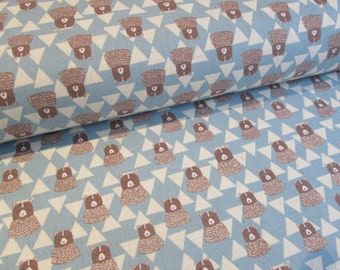Kokka Japanese bear fabric in blue lightweight canvas - 1/2 YD