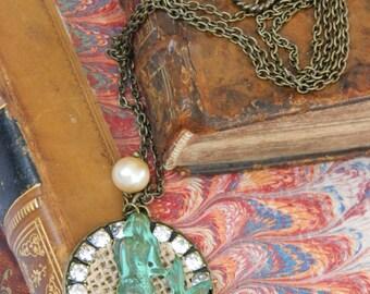 LA SIRENE PENDANT repurposed assemblage necklace jewelry rinestone pearl  bronze pendant french verdigris medal ocean beachy atelier paris