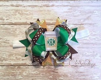 star coffee bow, cappuccino bow, coffee cup bow, coffee headband, coffee bow, coffee costume, baby coffee headband, baby starbucks headband
