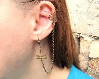 Ear Cuff With Chains Gothic Earring Steampunk Ear Cuff Dragonfly Ear Cuff Filigree Ear Cuff Victorian Ear Cuff Brass Ear Cuff- Harley Chic