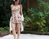 Vintage 50s Shaheen Playsuit & Cape - Designer Swimsuit Beach Romper Bark Cloth - SM