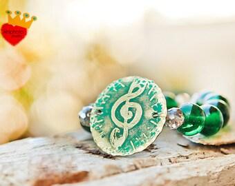 Music-stretch bracelet,brass bracelet,adjustable bracelet,etched brass,semiprecious stones,beads,green,unique,boho jewelry,iriniphoto