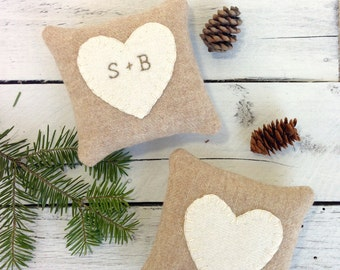 Personalized Rustic Heart Pillow, Rustic Wedding Gift, Bridal Shower Gift, Anniversary Gift, Balsam Pillow, Rustic Heart, Maine Wedding