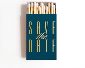 Save the Date Cards Matchboxes Empty - Foil Stamped Invitations Personalized Matches Custom Invites - International Shipping