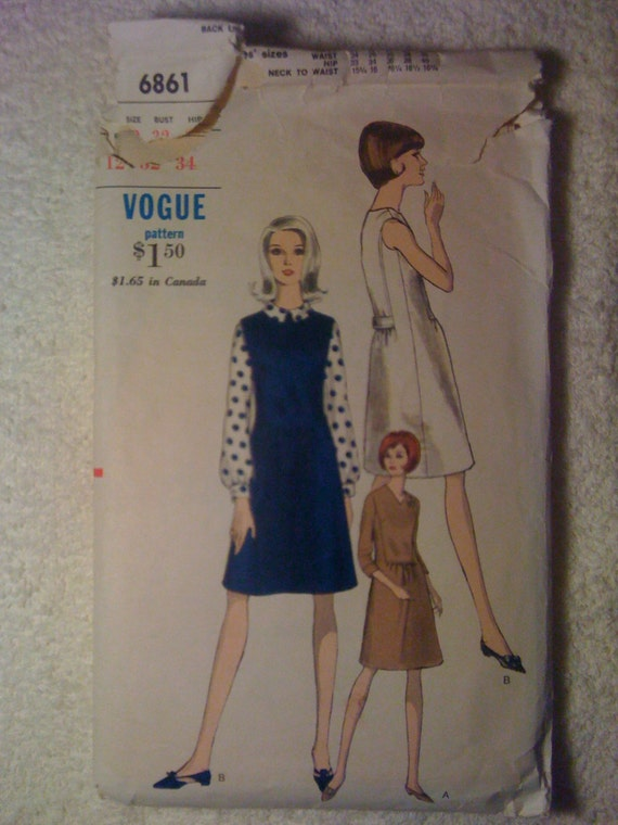 Vogue 6861 Sewing Pattern 60s Misses Dress or Jumper and Blouse Size 12