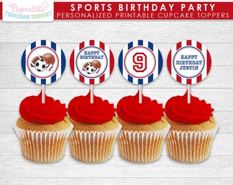All Star Sports Theme Birthday Party Cupcake Toppers | Red & Blue | Personalized | Printable DIY Digital File