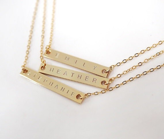 Custom Name Necklace, Gold Bar necklace, Personalized Bar necklace, bridesmaid gifts, wedding necklace,initial necklace, 32*4mm