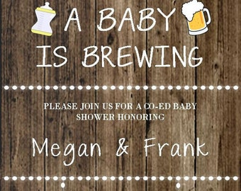 Baby Shower - Baby Brewing Invitation Digital File