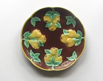 Minton Majolica Plate, Antique Pear Plate, Yellow, green on Brown, Rare English Majolica, Mothers Day Present, Gift for Mom, Collectible