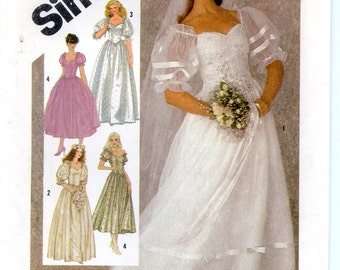 Uncut Wedding Gown Pattern Simplicity 8476 Ladies Formal Bridal Sewing Patterns Misses Size 14 Bust 36