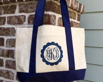 Monogrammed Canvas Tote Bag - Monogram tote bag, Boat tote, Bridesmaid gift, Monogrammed Gifts, Custom Logo, Corporate Gifts, Teacher Gifts
