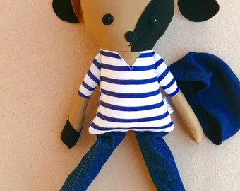 Fabric Doll Rag Doll Brown and Black Boy Puppy Doll in Navy Striped Shirt and Beanie