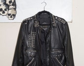 Vintage 70s Studded Biker Jacket - Ladies M - Mens S