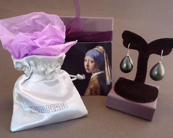 "Black Teardrop pearl earrings from the painting ""Girl with a Pearl Earring"" by Vermeer."
