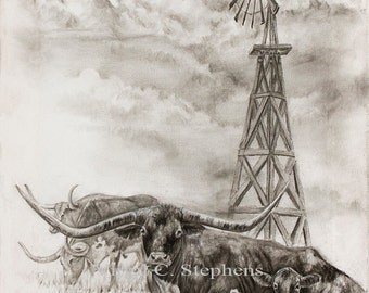 Cattle art, Texas Sky, original drawing on canvas gallery wrap of a windmill and longhorn cattle, texas art, cows, texas landscape