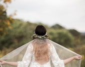 Woodland Boho Silk tulle Wedding Veil, Airplant Crown with Crystals, Pearls and Lace