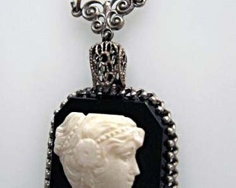 Vintage Cameo Pendant, White Profile on Black Glass or Onyx, Silver Filigree Frame and Bale, Raised Portrait