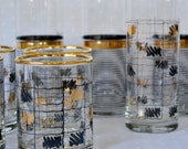 Panache Geometric Black Gold Vintage Cocktail Glasses - Rocks Collins Highball Cocktail Party Mixed Lot of 10 Drinking Glasses