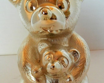 Teddy Bear Bank, Godinger, 1980s, silver, Japan, Excellent Vintage Condition