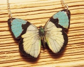 Blue and White Wooden Butterfly Necklace
