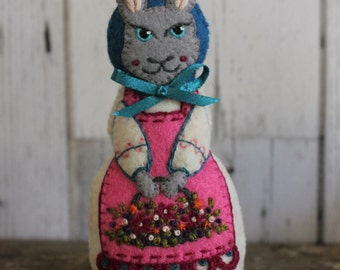 Lady Hare- Small, hand cut and hand embroidered felt art doll, with basket of Spring flowers