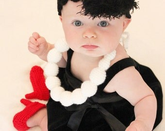 Instant Download PATTERN Fancy Nancy Set Baby Photo Props Pearls Necklace Headband Red Heels