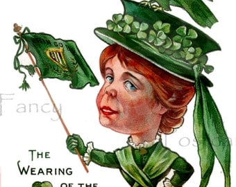 ST Patrick's Day VINTAGE Postcard, Wearing of the Green, INSTANT Digital Download