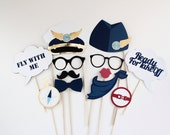Airplane Party Photobooth Props - 12 Pc Pilot Photo Booth Set - Speech Bubbles, Gold Foil, and more