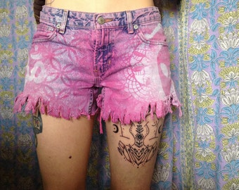 ON SALE // Spiritual Space cadet Jean Shorts Small // distressed hand Dyed fringe OM Music notes Sri yantra Aliens