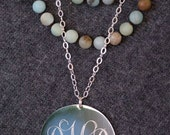 Long Monogrammed Necklace in Silver or Gold Large Statement Necklace Personalized